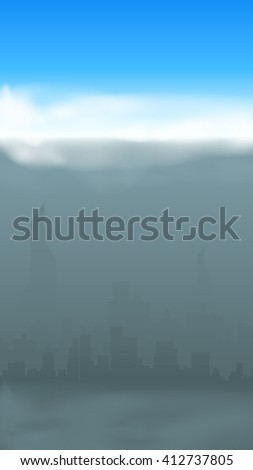 grey city silhouette - stock vector