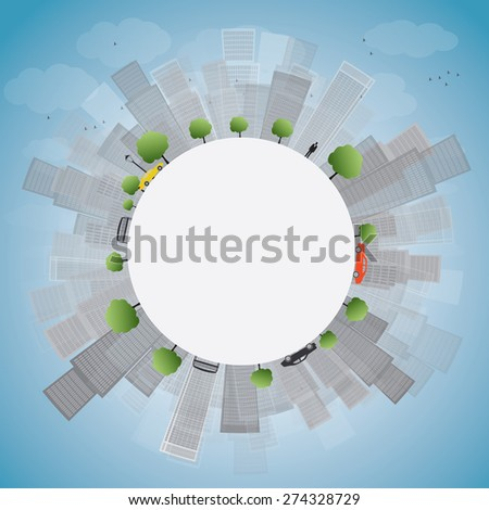 Grey City Skyscrapers on blue sky with copy space. Vector illustration - stock vector