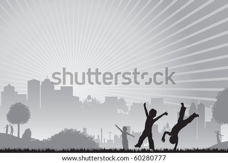 grey cityscape children playing - stock vector