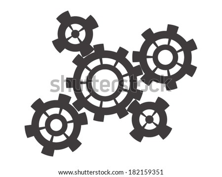 Grey cogs on white background - stock vector