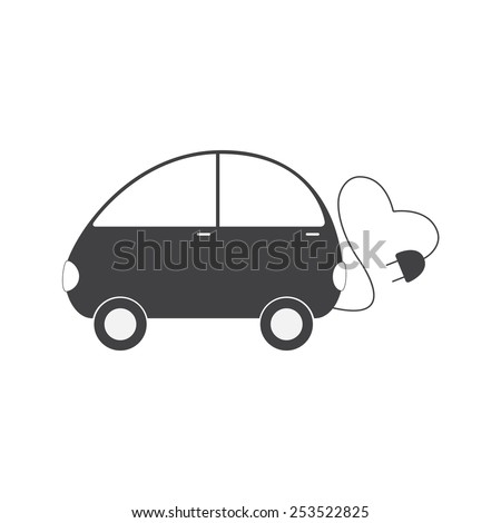 Grey colored electric vehicle with cable in the shape on heart and plug isolated on white background. Eco friendly transportation concept. Logo template, design element - stock vector