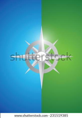 grey compass illustration design over a blue and green background