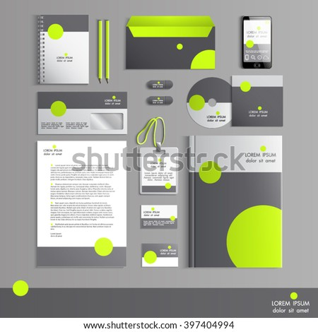 Grey Corporate Identity Template Green Round Stock Vector 397404994 ...