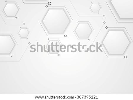 Grey corporate tech drawing design. Vector hexagons background - stock vector