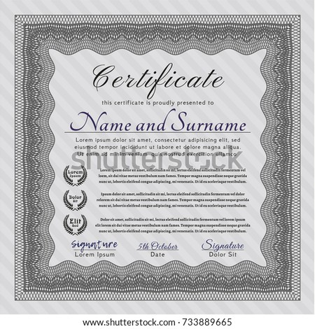 Vector certificate template 238868683 shutterstock grey diploma template or certificate template elegant design with quality background customizable yelopaper Images