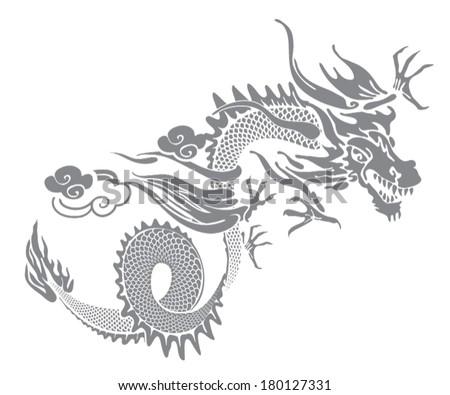 grey dragon - stock vector