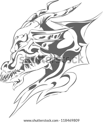 grey dragon tattoo - stock vector