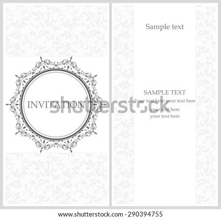 Grey elegant invitation, front and back side. Decorative vintage frame. Beautiful floral invitation cards. Vector damask illustration. - stock vector