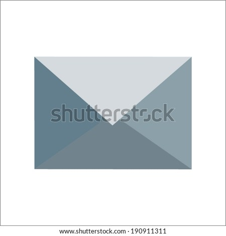 grey envelope (e-mail)  icon by triangles, polygon vector illustration - stock vector