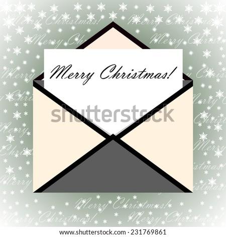 Grey Envelope letter Merry Christmas white card, Vector illustration - stock vector
