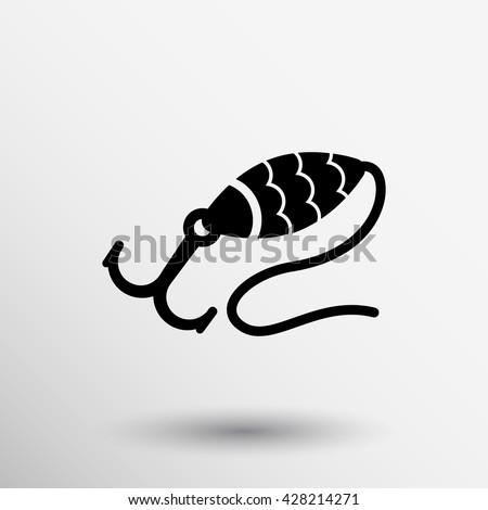 Grey fishing hook vector isolated bait fishing icon. - stock vector