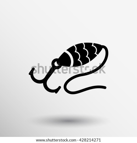 Grey fishing hook vector isolated bait icon. - stock vector