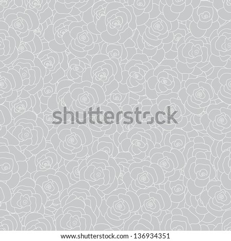 Grey floral seamless vector pattern - stock vector
