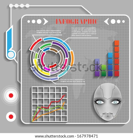 grey futuristic infographics for web and mobile vector - stock vector