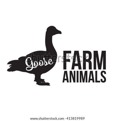 Grey goose, poultry, vector illustration sketch, farm feathered animal, one color and the beautiful goose on a yellow background, animal farm goose lettering - stock vector