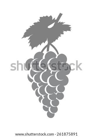 Grey grape icon on white background - stock vector