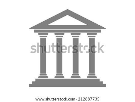 Grey historical building on white background