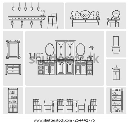 Grey home furniture silhouette vector illustration set - stock vector
