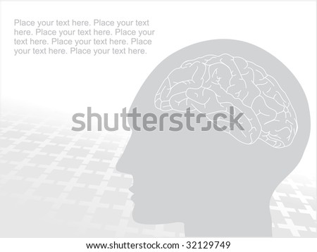 grey human face with brain, vector silhouette - stock vector