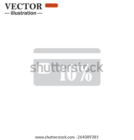 Grey icon on white background. Discount label, vector illustration, EPS 10 - stock vector