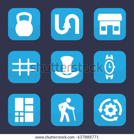 Grey Icon Set 9 Filled Grey Stock Vector 637888771 Shutterstock