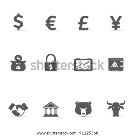 Grey Icons - Finance - stock vector