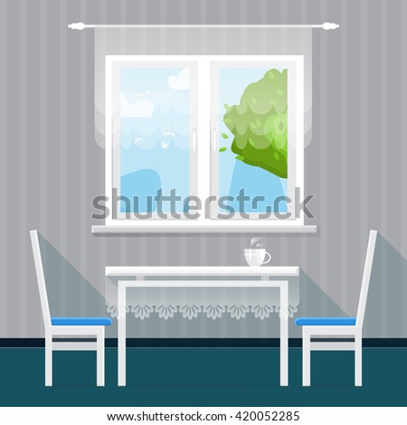Grey Interior Dining Room. Dining table with cup and chairs. Furniture. Kitchen. Home Interior Objects. Style vector illustration - stock vector