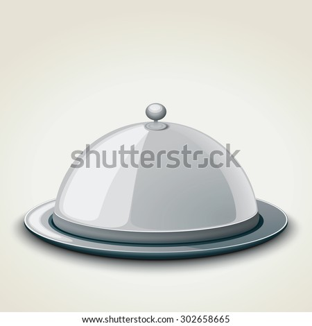 Grey kitchen tray for restaurant, icon, isolated on white. Vector illustration. - stock vector