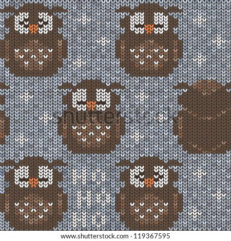 Grey knitted sweater with owls. Seamless pattern