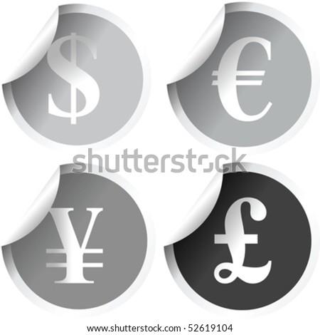 Grey Labels International Currency Symbols Stock Vector 52619104