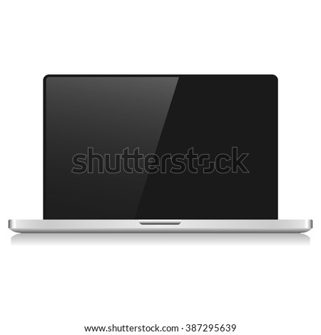 Grey laptop with shadow  on a white background
