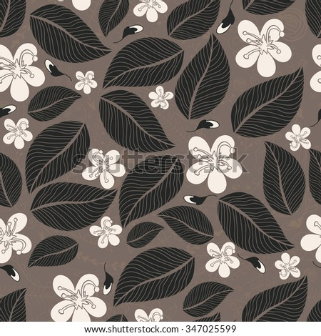 Grey leafy seamless background with flowers. Vector illustration - stock vector