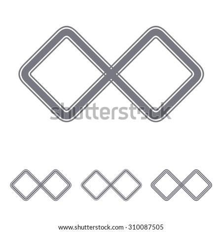 Grey line infinite logo design set - stock vector