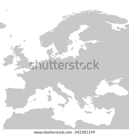 Grey map of Europe in the dot. Vector illustration. - stock vector