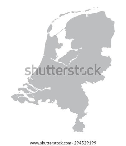 grey map of Netherlands - stock vector