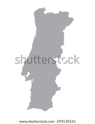 grey map of Portugal - stock vector
