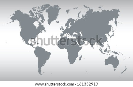 grey map of the world - stock vector
