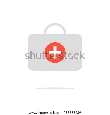 grey medical suitcase with shadow. concept of ambulance, family physician, therapist, gp, internist, healthcare. isolated on white background. flat style trendy modern logo design vector illustration - stock vector