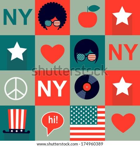 grey  New York pattern - stock vector
