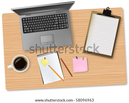 Grey notebook (laptop) and office supplies laying on the board. Vector. - stock vector