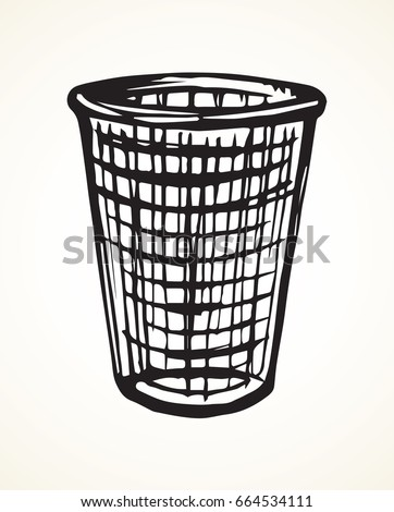 Grey old rough wire iron trashbin for refuse on light backdrop. Freehand linear dark ink hand drawn picture emblem sketchy in art retro scribble cartoon graphic style. Closeup view with space for text