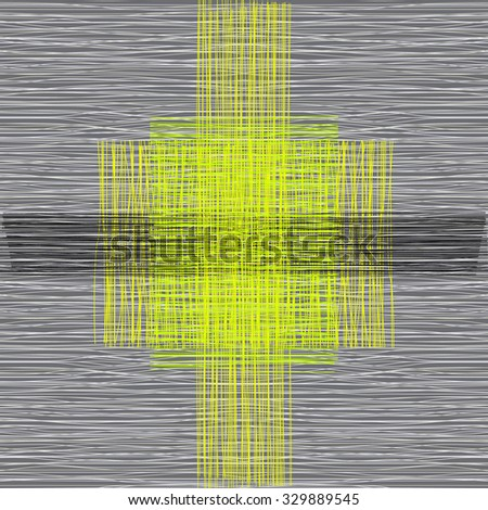 Grey or beige fabric with stripes, burlap, quilting, imitation natural fibers hand art work - stock vector