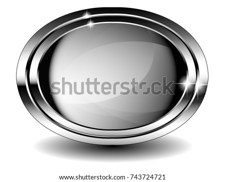 Grey Oval Background Double Silver Frame Stock Vector 743724721 ...