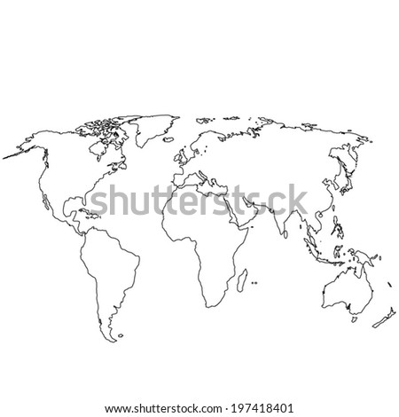 World map country borders thin black stock vector 740904559 grey political world map illustration gumiabroncs Images