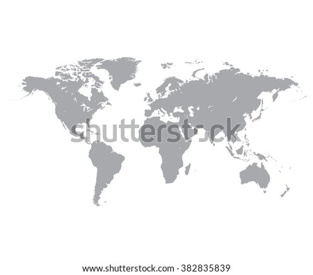 Grey Political World Map, White background - stock vector