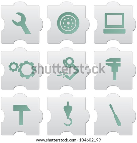 grey puzzle buttons with green signs and icons for web design, print, high quality print and for marking use - stock vector