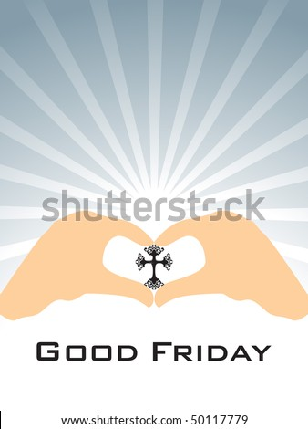 grey rays background with hand holding cross - stock vector