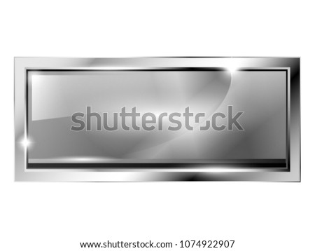 Grey Rectangular Background Silver Frame Space Stock Vector (Royalty ...
