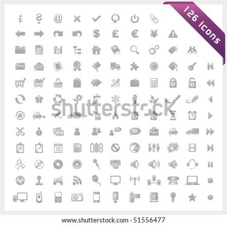 Grey set of 126 shiny icons - stock vector
