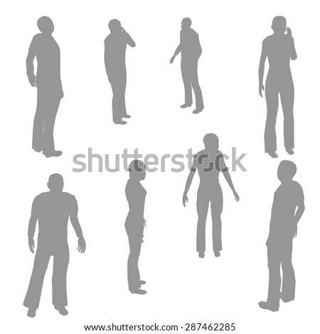 Grey silhouettes of people in different poses